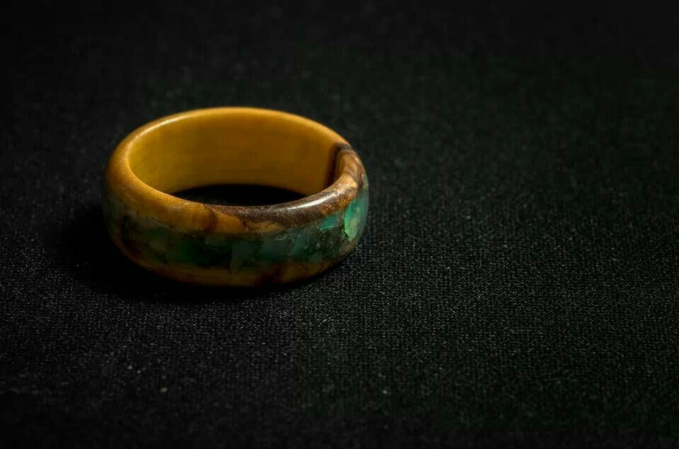 Wood ring made of olive with green Jade inlay