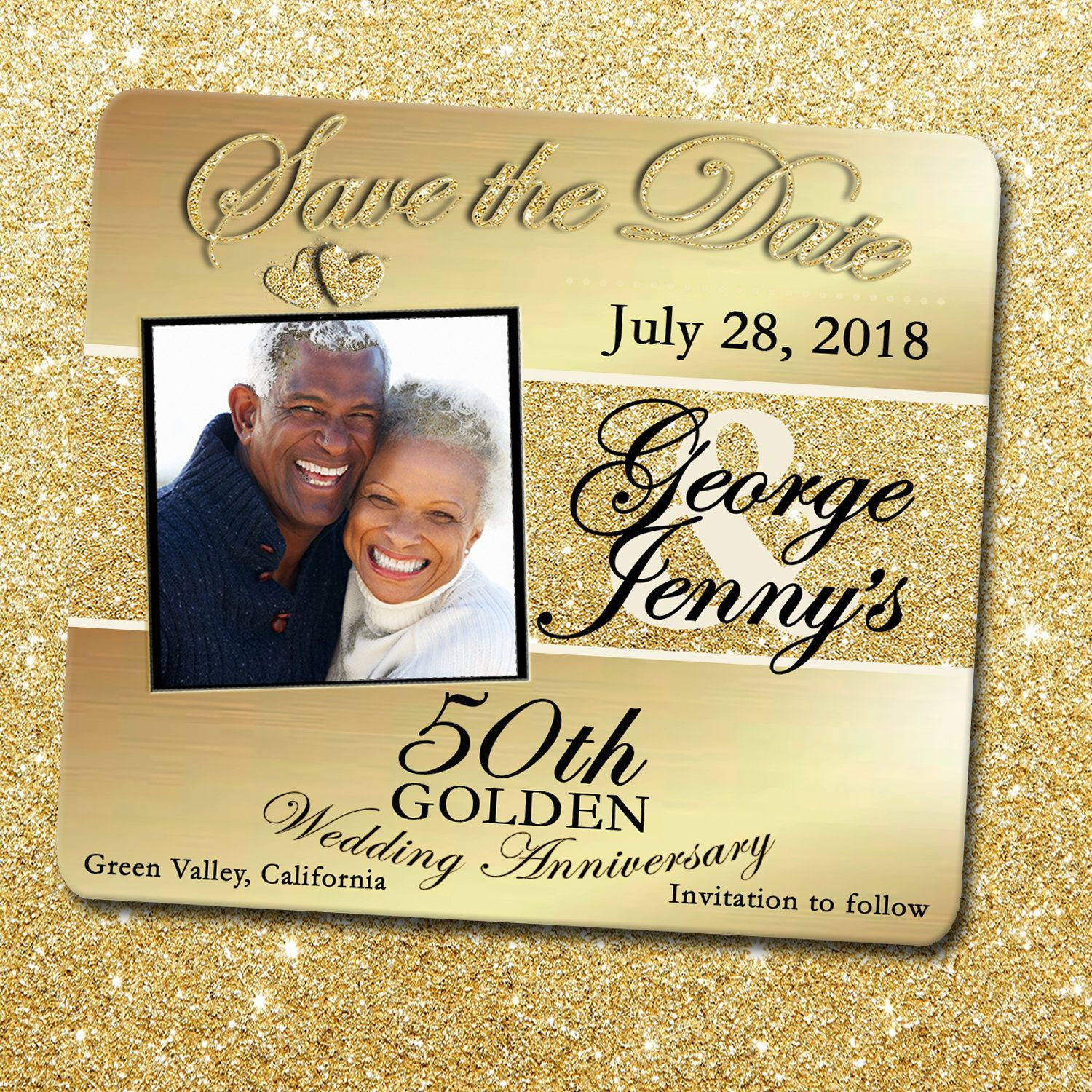 50th anniversary golden anniversary save the date