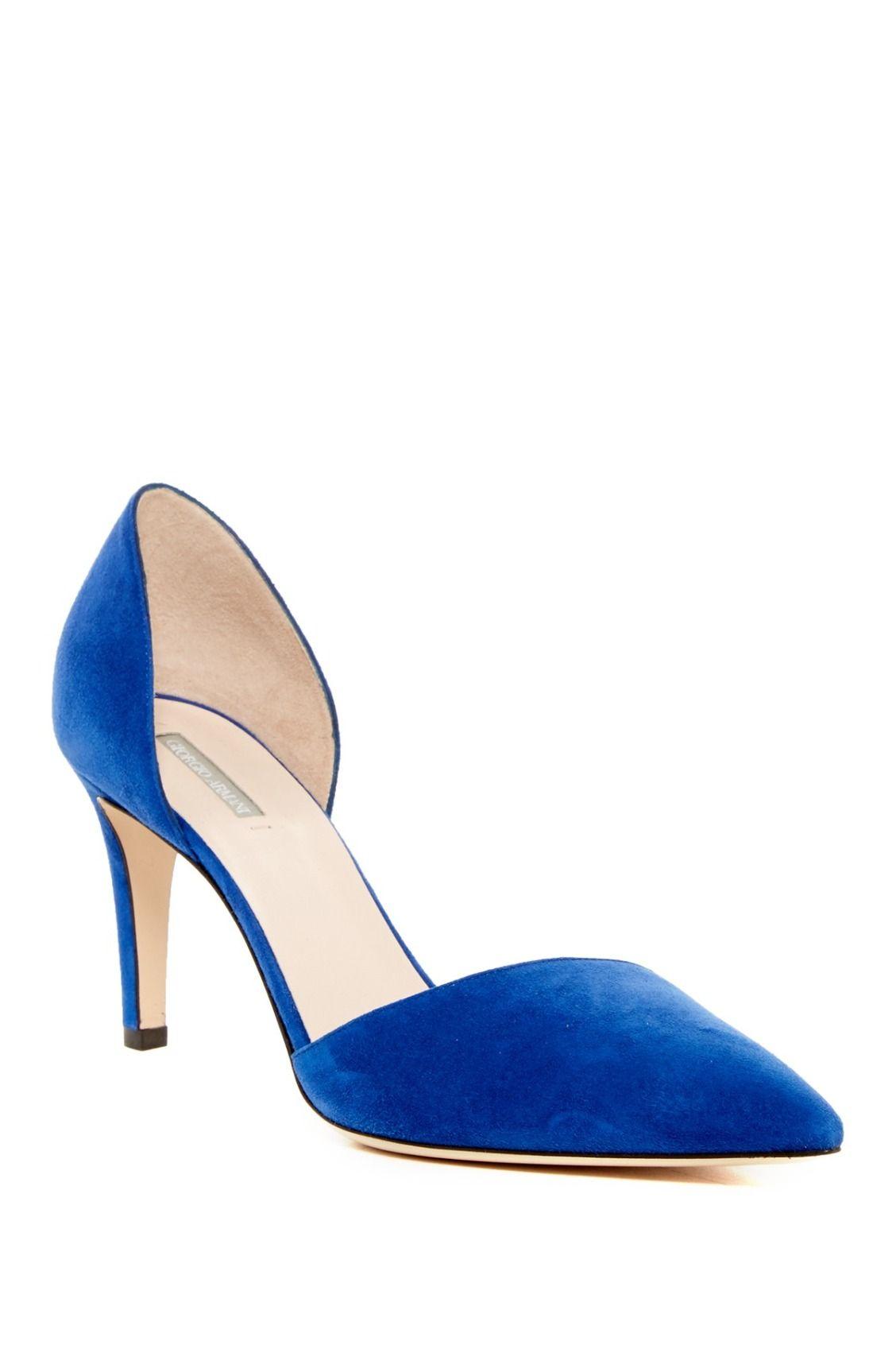 Blue Suede Giorgio Armani d'Orsay Pumps