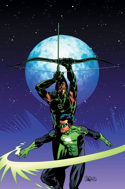 Green Arrow and Green Lantern Green Arrow is so freakin awesome!!!!!! Green Lantern is too but he's cocky.