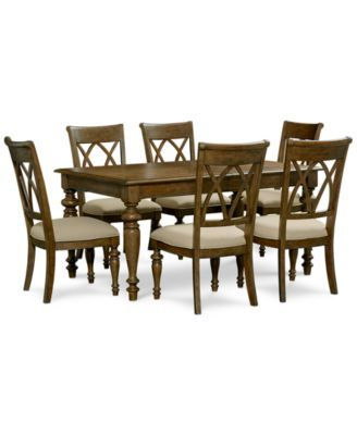 Oak harbor 7 pc dining set table 6 side chairs 40x62 for Oak harbor furniture
