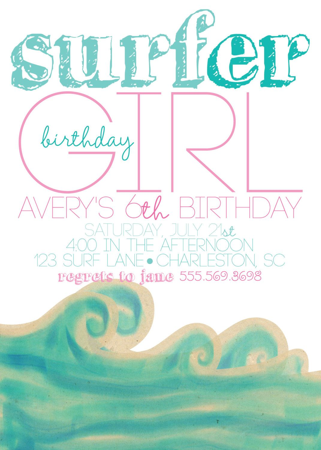 Surfer Girl Party Invitations (20 printed 5x7 with glitter). $40.00 ...