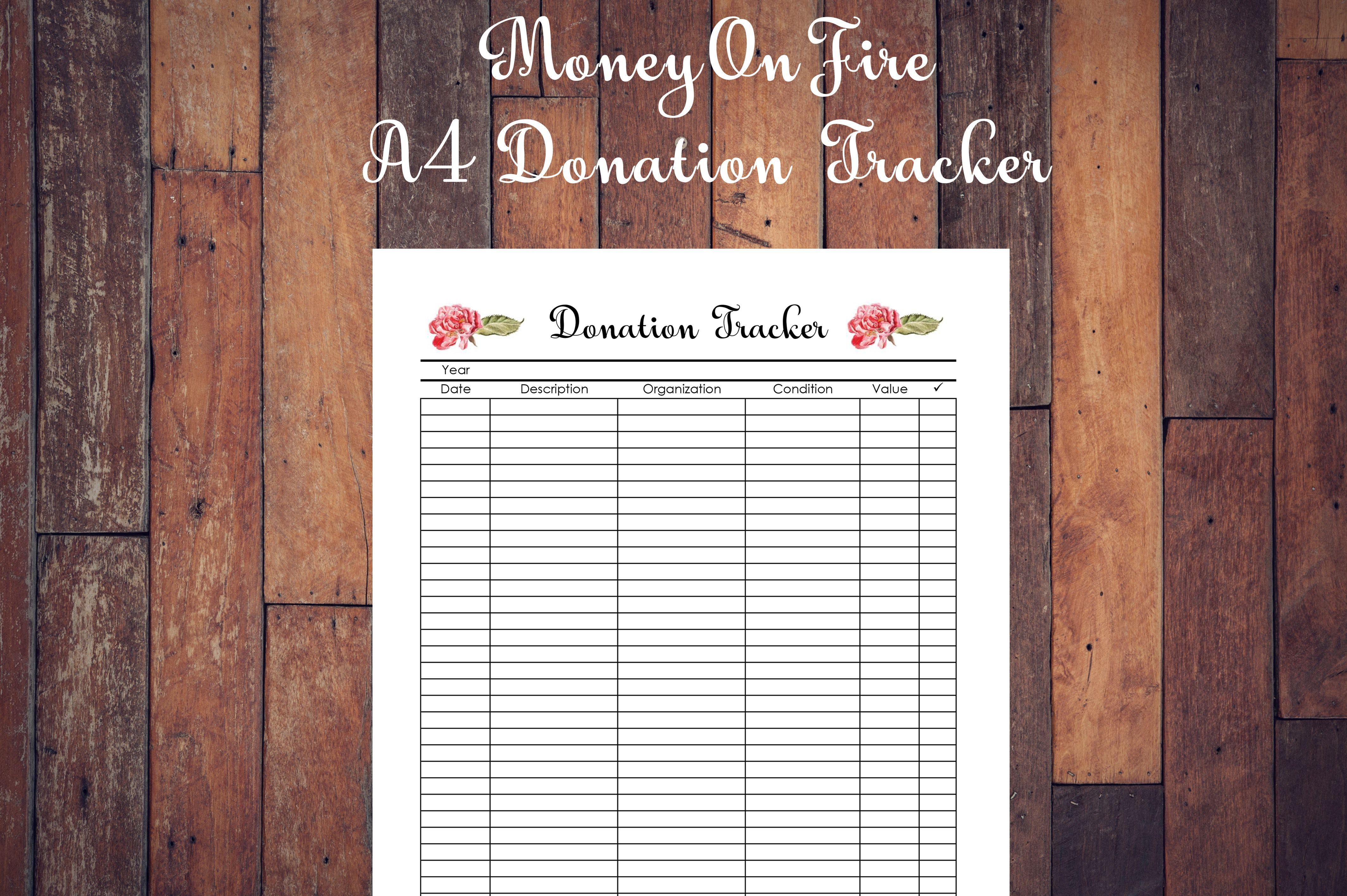 Donation Tracker Printable Etsyshop Etsyfinds