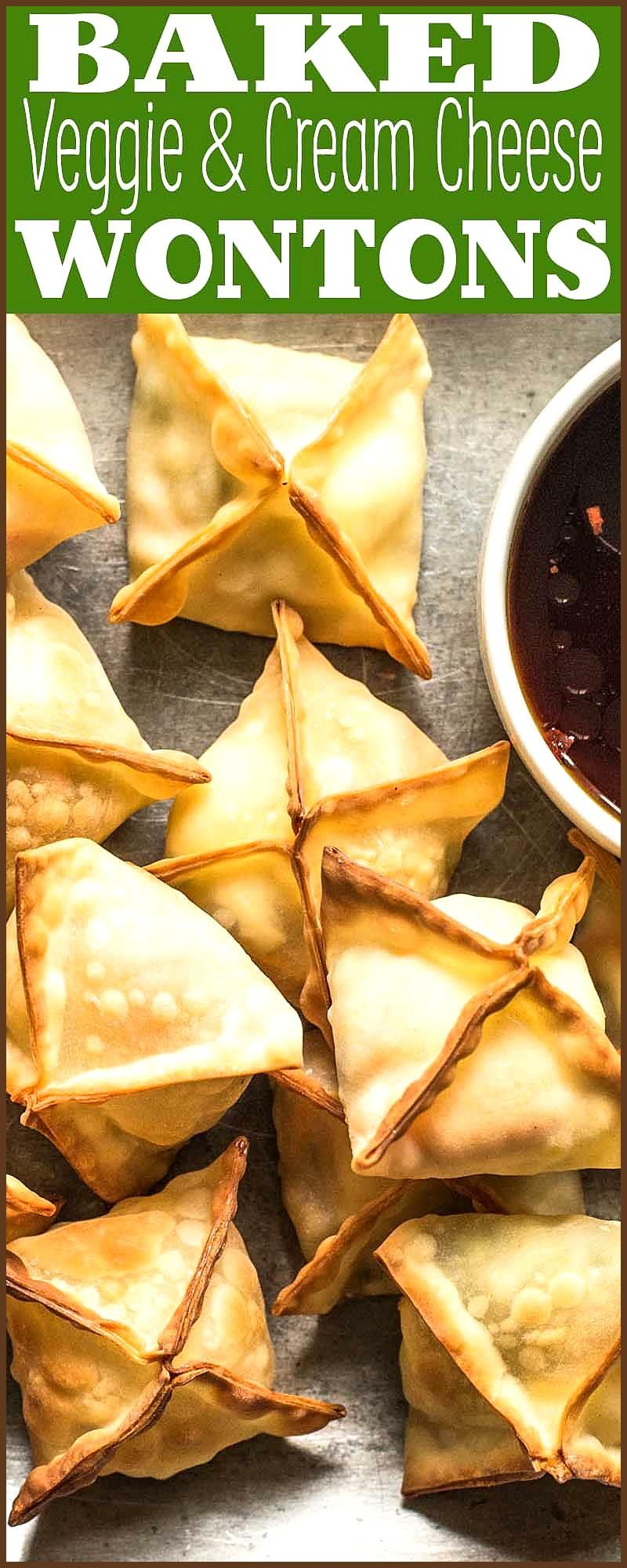 Baked Vegetable and Cream Cheese Wontons EASY vegetable and cream cheese baked wontons Big crowd-pl