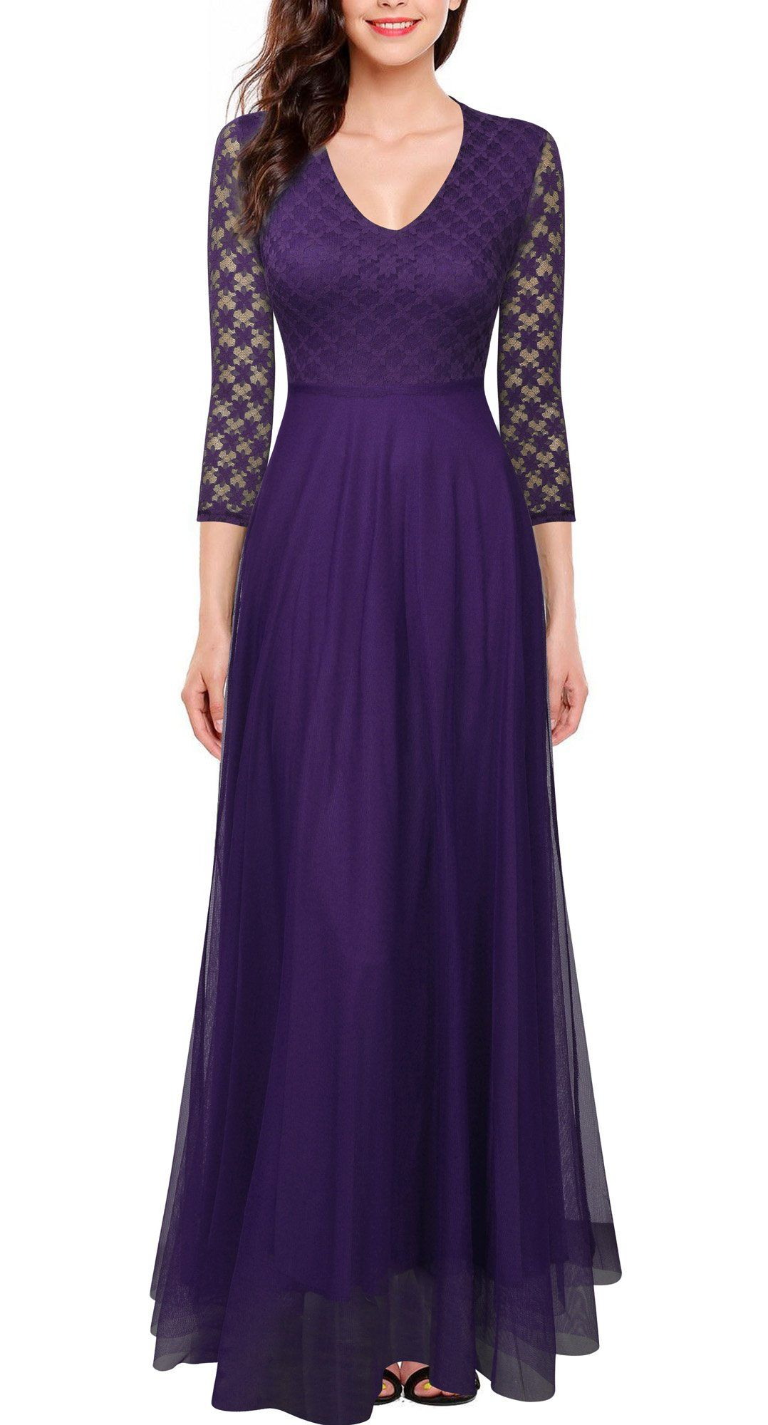 FORTRIC Women 3/4 Sleeves Top Lace SeeThrough Back Wedding