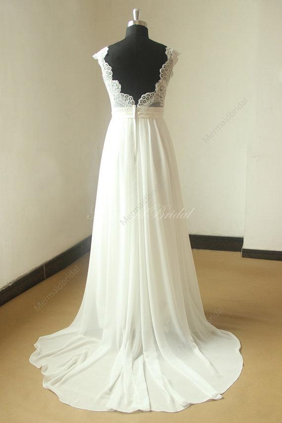 abierto nuevo gasa vestido de novia escote v por mermaidbridal | my