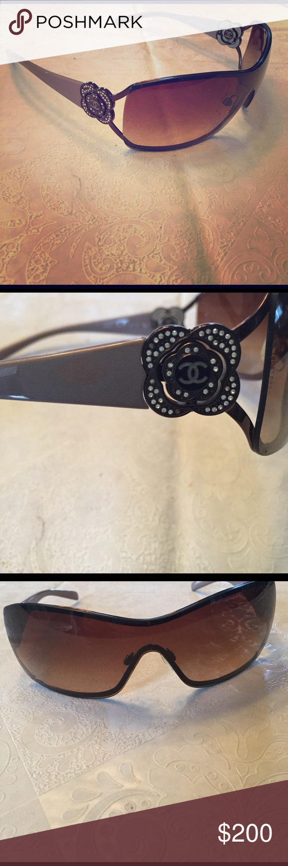 269d3ee02660e Chanel Sunglasses purchased at Sunglass Hut Chanel Shield Sunglasses. In  great shape. Has some wear and scratches on the lenses. Can see just fine  through ...