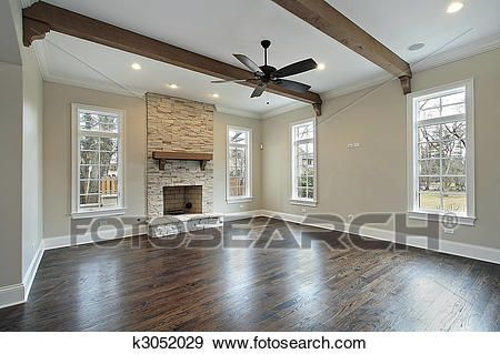 Family room with ceiling wood beams Stock Photo images