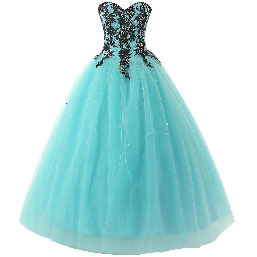 Gorgeous blue strapless tulle appliqué quinceañera dress with