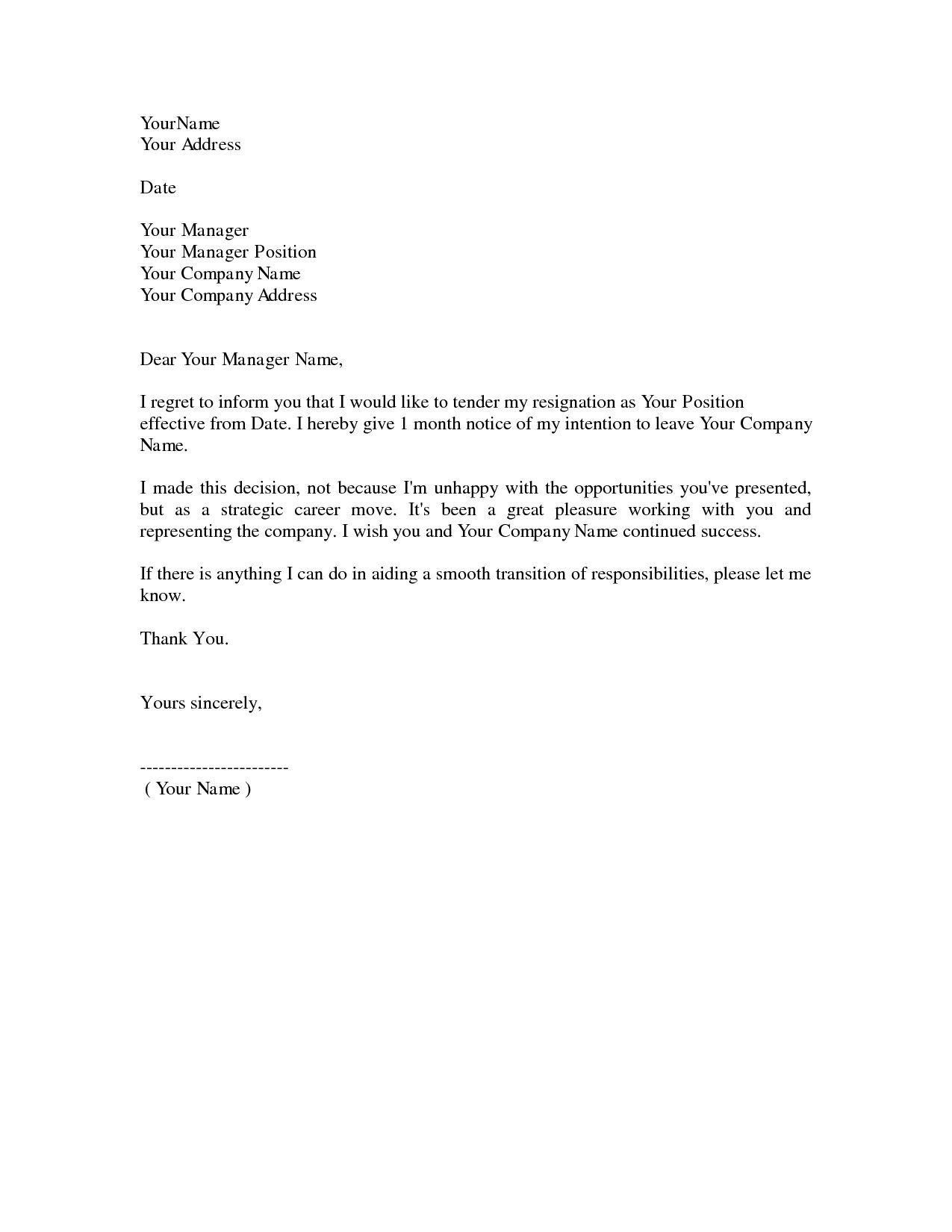 simple resignation letter 1 month notice as sample letter of – Sample of Letter Resignation