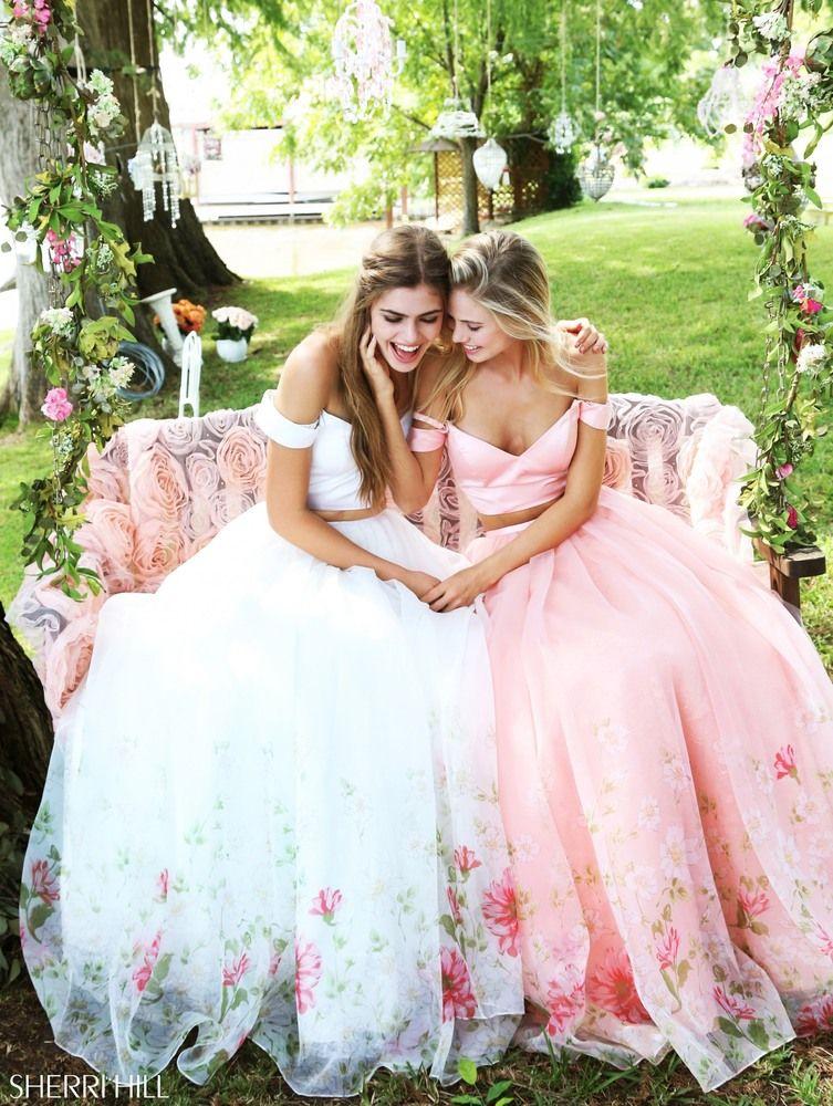 78aa89f31b1b6 Sherri Hill 51053 soft flowing two piece floral print prom dress #ipaprom