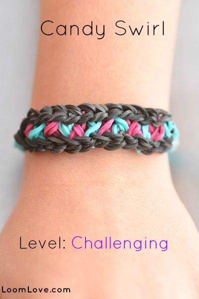 78b73d8fc03a How to Make the Candy Swirl Rainbow Loom bracelet | Abby | Pinterest ...