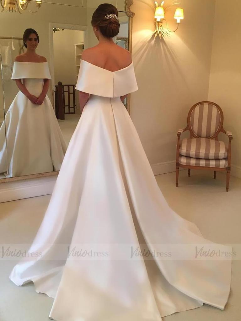 Elegant Simple Modest Wedding Dresses Off the Shoulder Bridal Gown ...