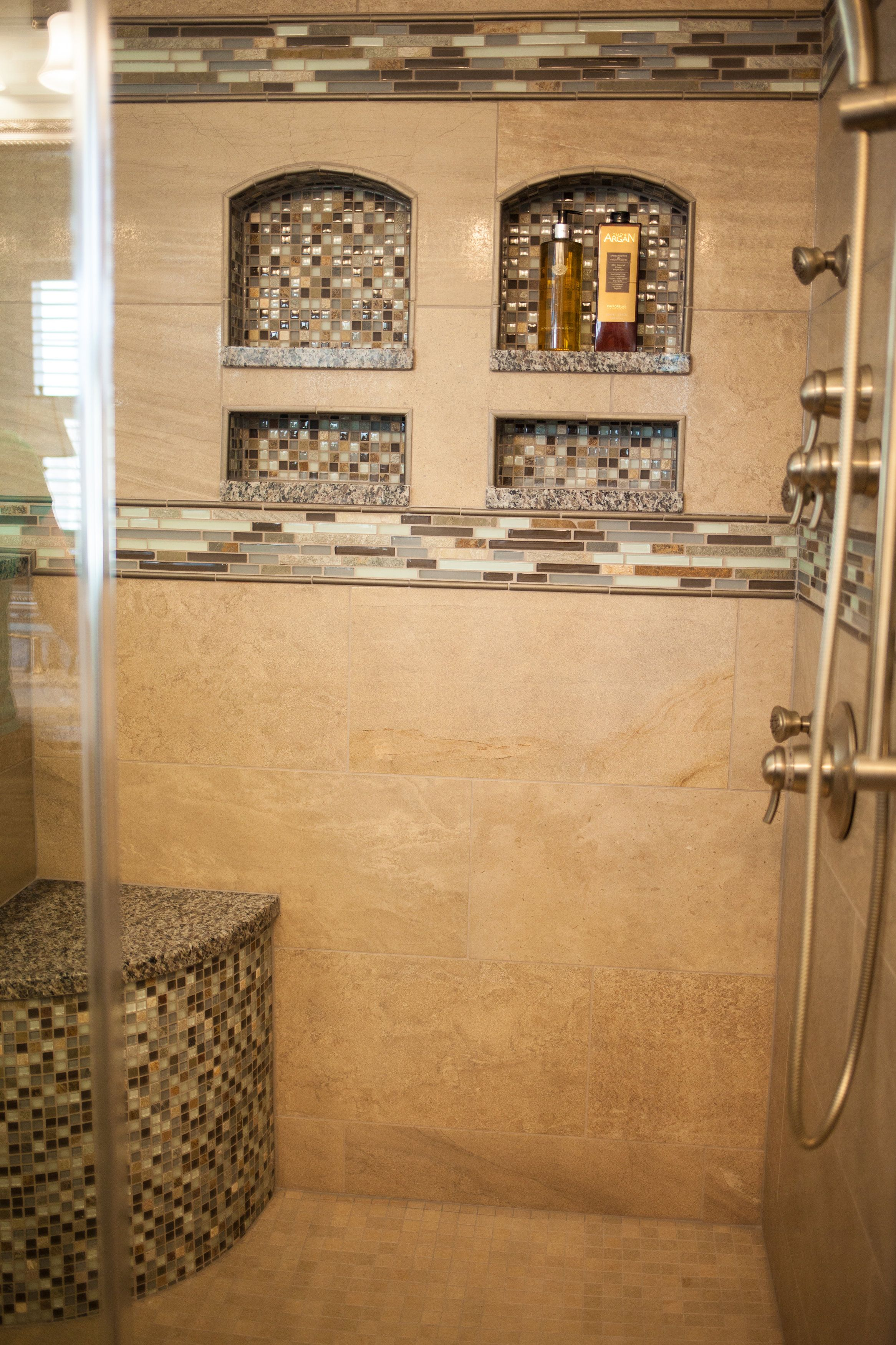 shower remodel with arched niches collins tile and stone shower remodel with arched niches