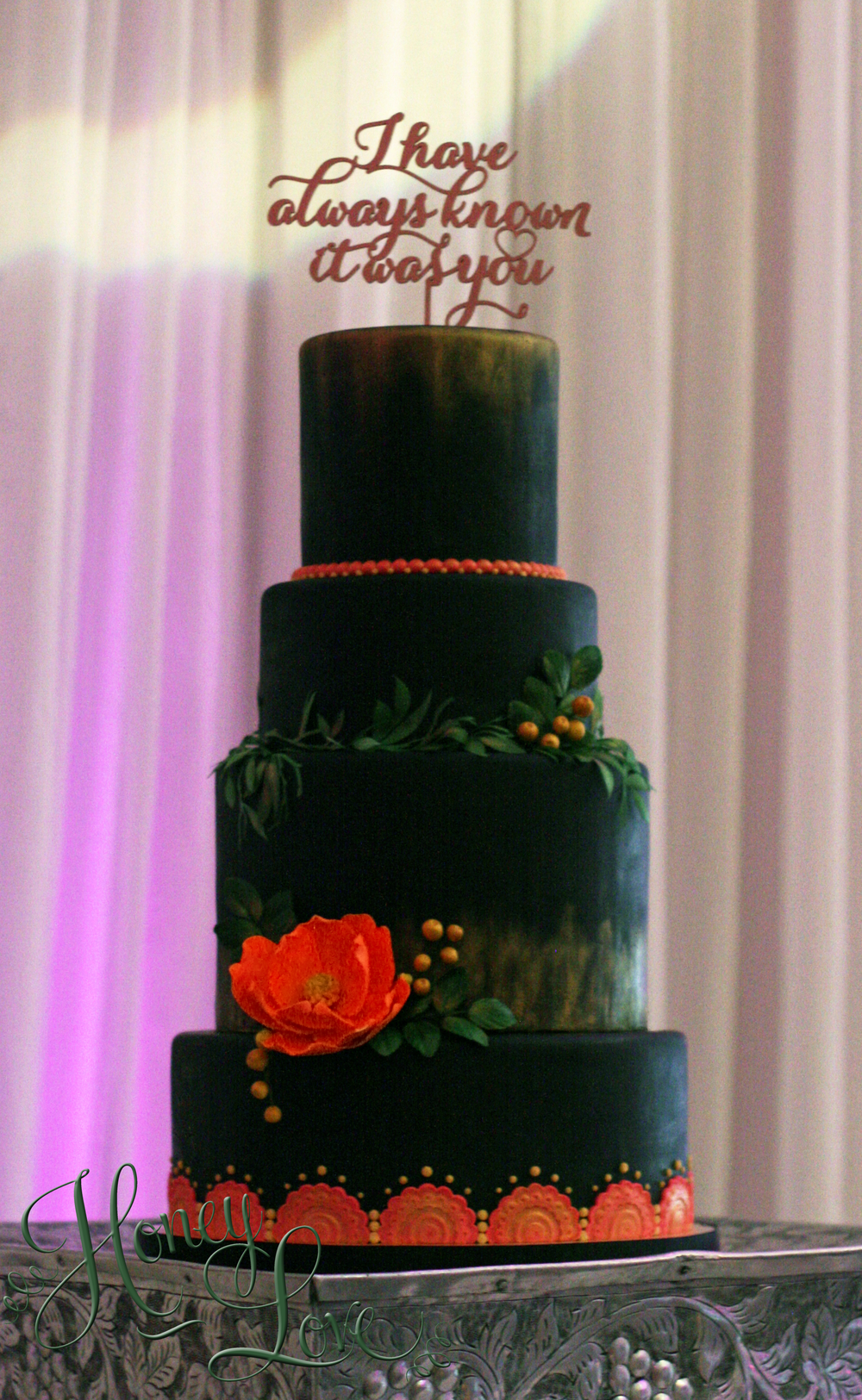 Black Pink And Gold Metallic Fondant Wedding Cake Made By - Wedding Cakes Arlington Tx