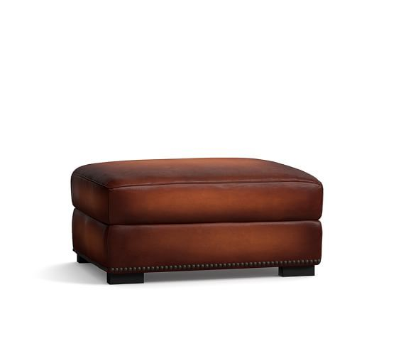Miraculous Turner Leather Ottoman With Nailheads House Decor Dailytribune Chair Design For Home Dailytribuneorg