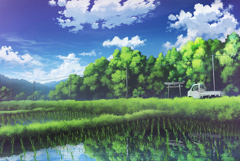 田んぼと鎮守の森 アニメの風景 風景 アート背景