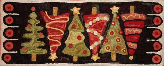 Christmas Tree Table Runner Rug Hooking