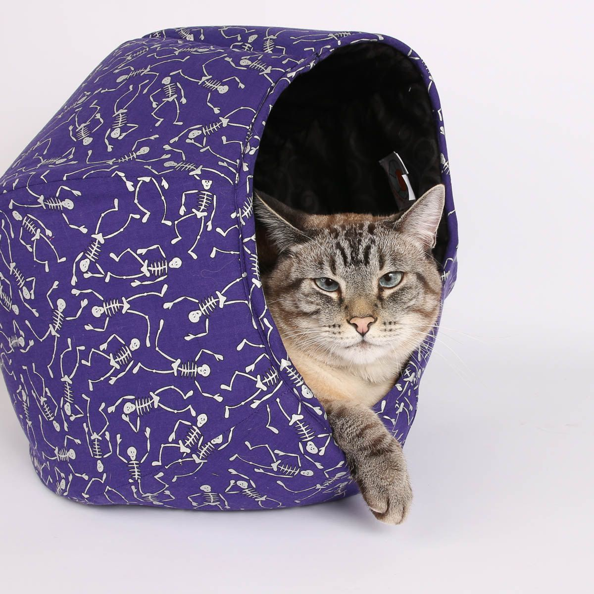 The Cat Ball in Purple Dancing Skeleton Fabric for Halloween ...