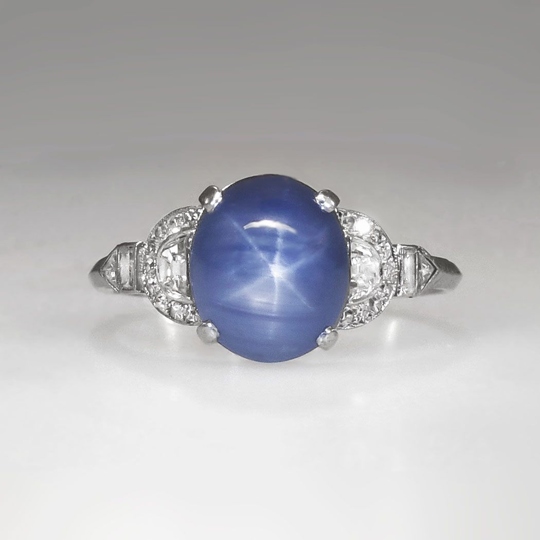 Rare Marcus Co 5 76 Ct T W Lavender Blue Star Sapphire Diamond Ring Platinum Antique Estate Je Star Sapphire Ring Blue Star Sapphire Sapphire Jewelry