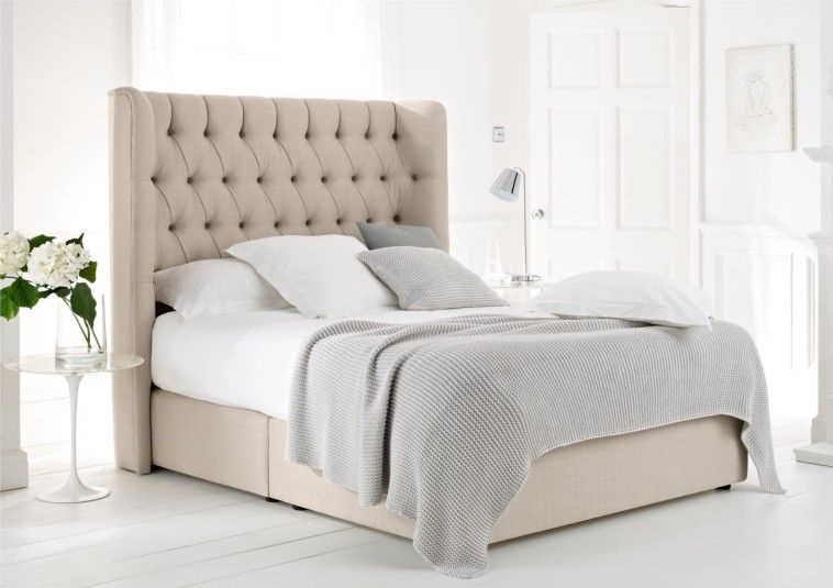 Beautiful Upholstered King Bed Frame In Cream Color And Huge Tufted ...
