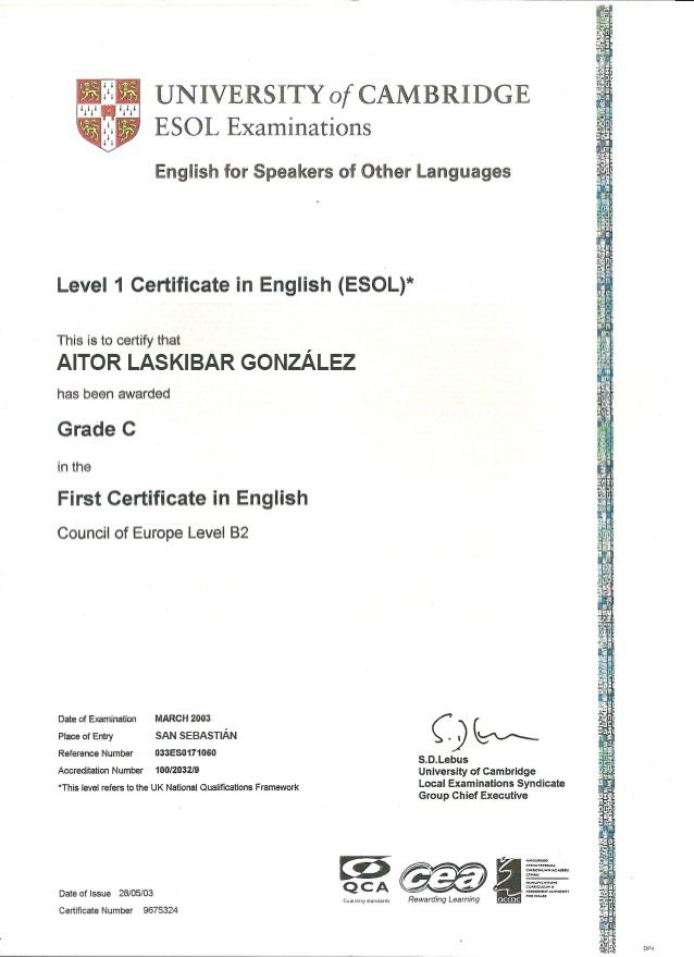 Curso First Certificate Fce En Donostia San Sebastian San
