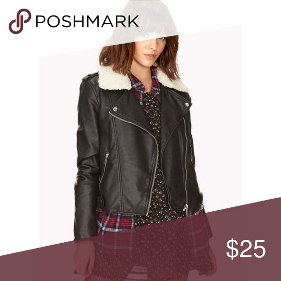 Faux Leather Sherpa Collar Plus Size Moto Jacket Clothes