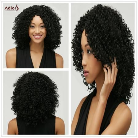 Towheaded Afro Curly Heat Resistant Synthetic Nobby Black Medium Capless Wig For Women