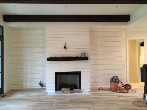 shiplap fireplace wall. shiplap how to - cement board \u0026 mdf combination fireplace wall