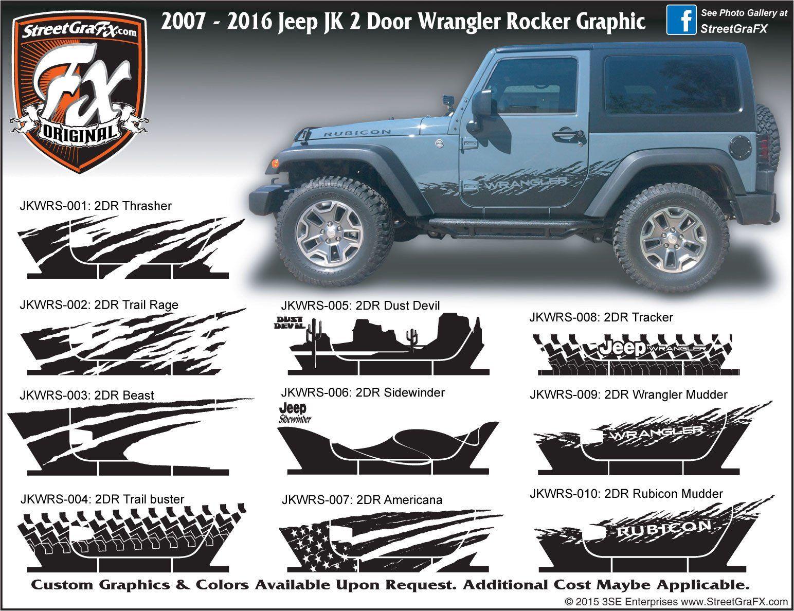 2007 2018 Jeep Jk Wrangler 2 Door Rocker Complete Graphic