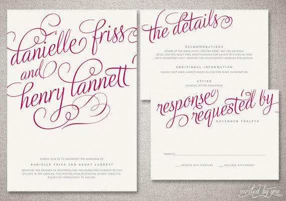 romantic calligraphy danielle wedding invitation suite whimsy