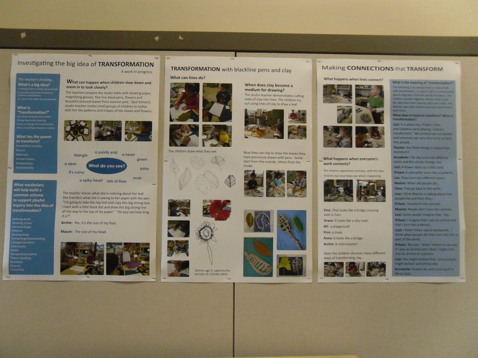 Investigating The Big Idea Of Transformation School Documents Early Learning Activities Reggio