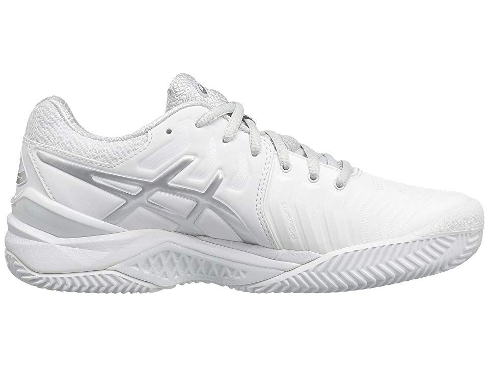 Asics Gel Resolution 7 Clay Court Women S Tennis Shoes White Silver Tennis Shoes Sneakers White Tennis Shoes Platform Tennis Shoes
