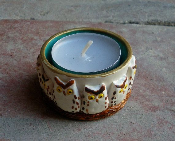 Owl Candle Holder White and Turquoise di HystericOwl su Etsy