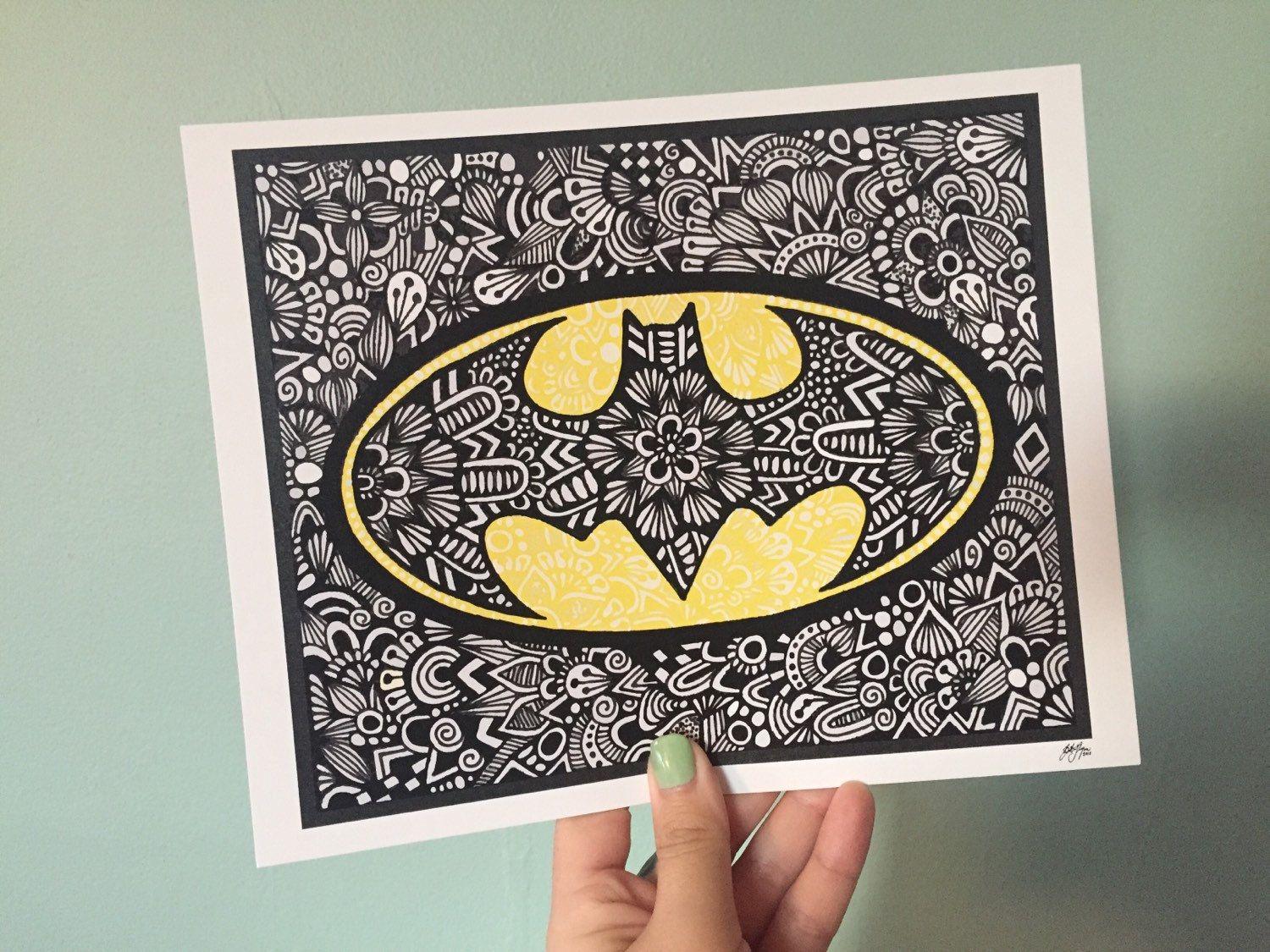 Zentangle Batman Por ZenspireDesigns En Etsy