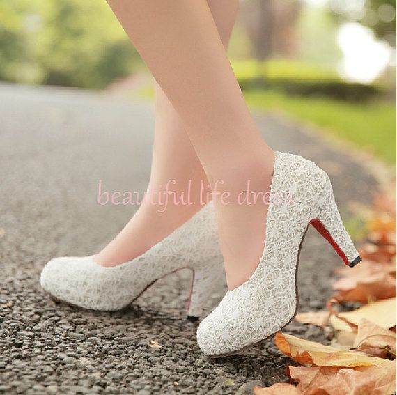 2017 Spring High Heel Shoes White Lace Chunky Heels Wedding Princess Bride Club Shoebld22 On Etsy 35 99