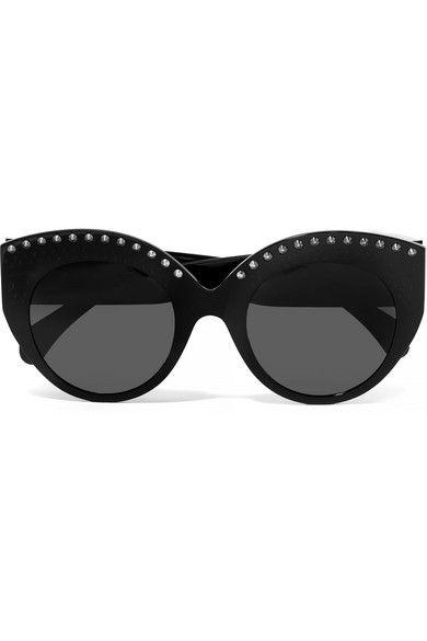 Alaïa – Cat-eye Studded Acetate Sunglasses – Black