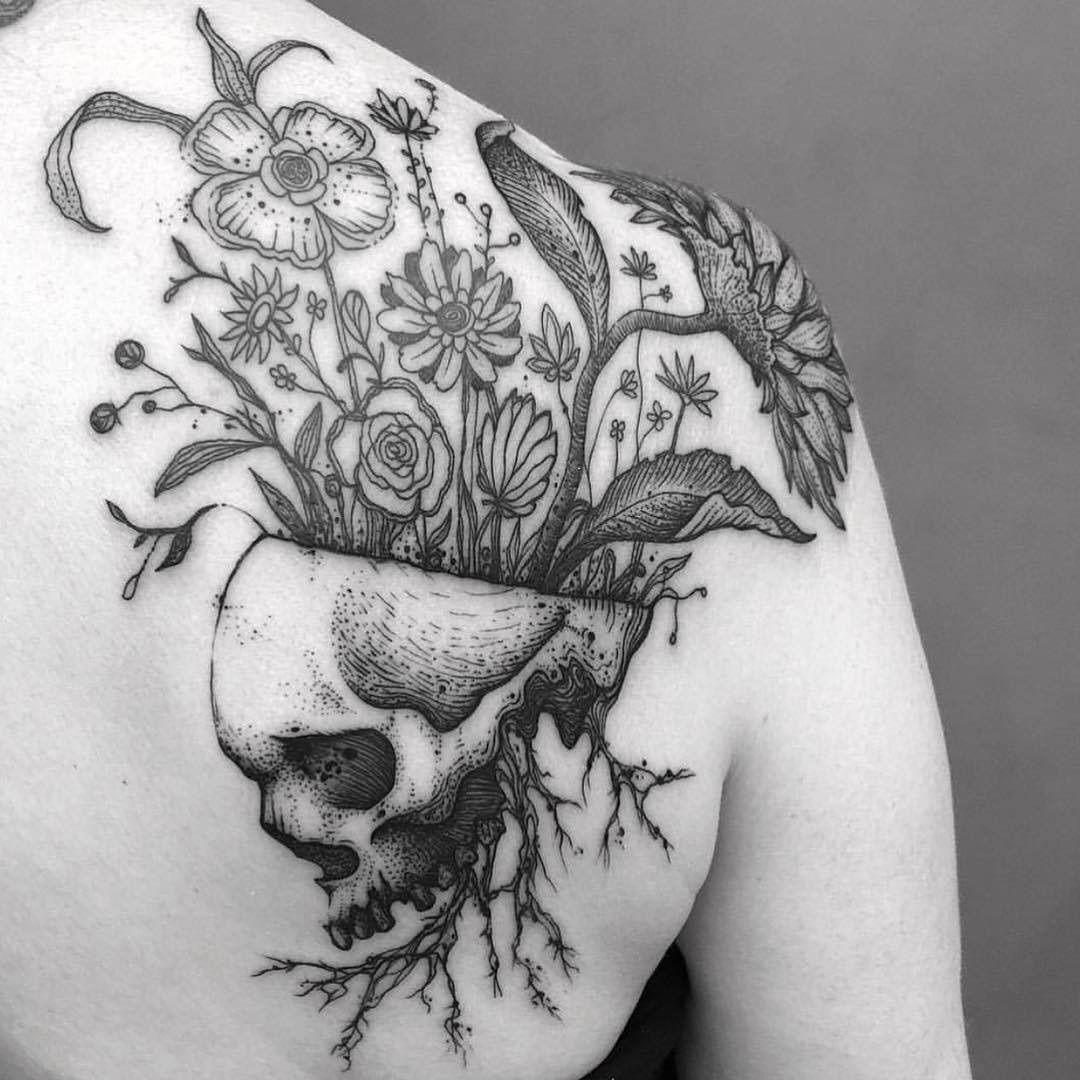 Skull flowers tattoo tattoos pinterest flower tattoos tattoo