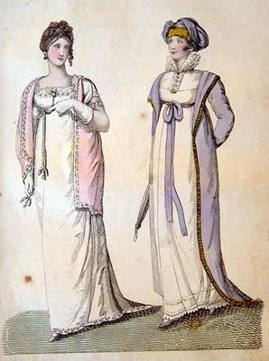 Jane Austen Fashion: These 1807 Belle Assemblee dresses were made of lovely white muslin, so fashionable in its day.