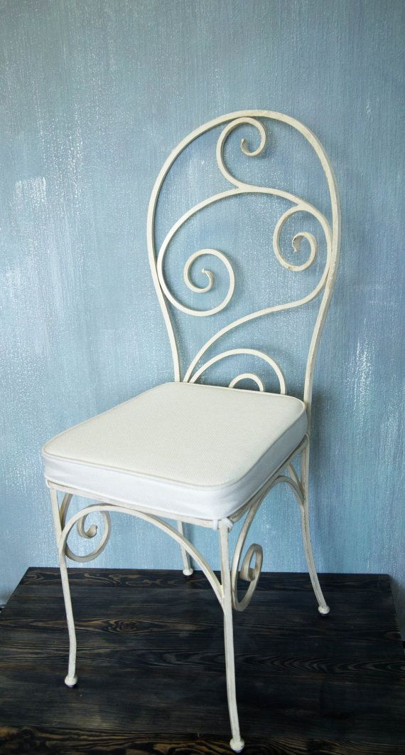 Wrought iron dining chair / Hand forged parlor chair / Ivory white metal kitchen chair / Wrought iron patio furniture / Hand forged patio chair & Wrought iron dining chair Hand forged parlor chair Ivory white metal ...