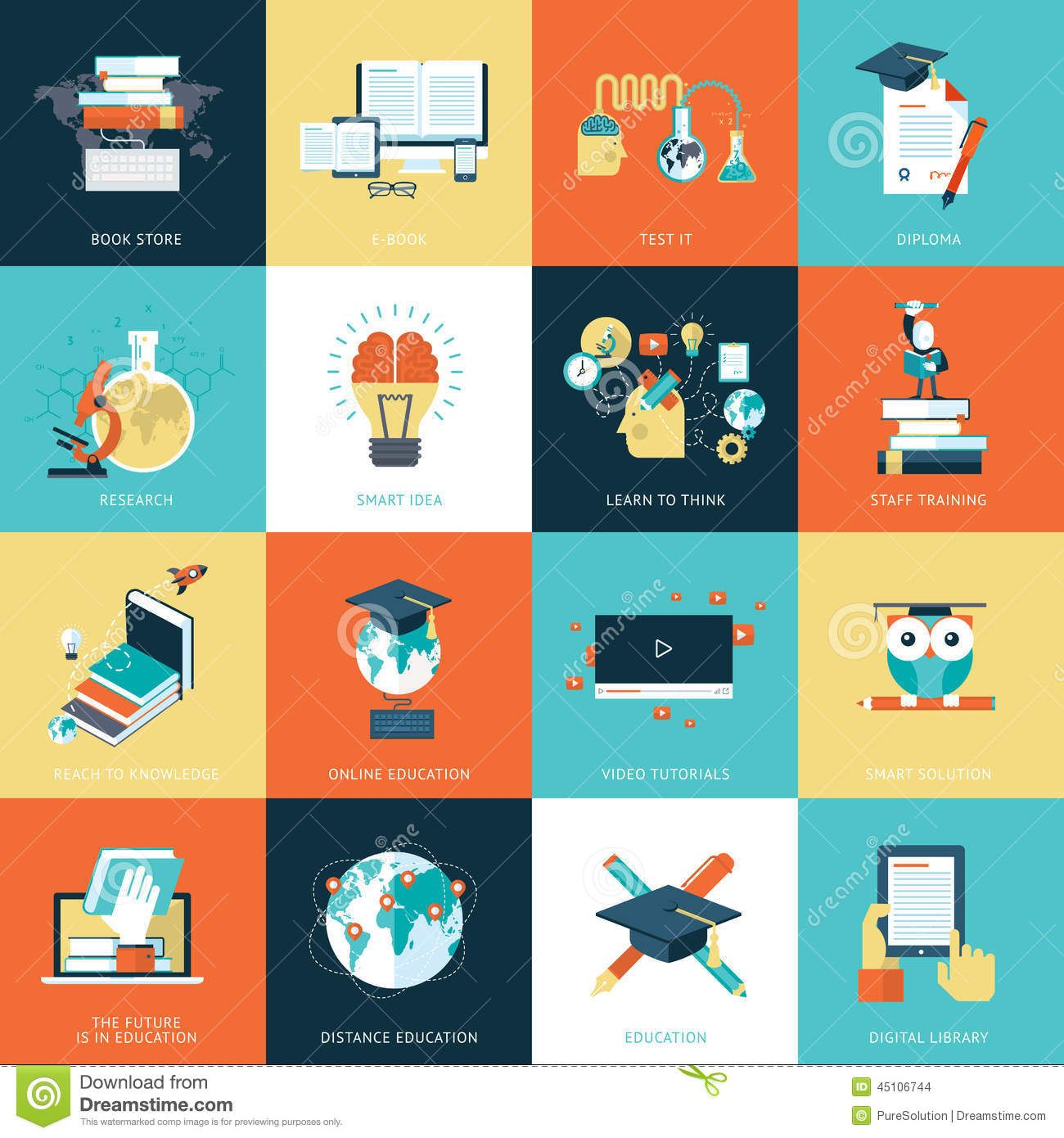 set-flat-design-icons-education-online-video-tutorials-staff ...