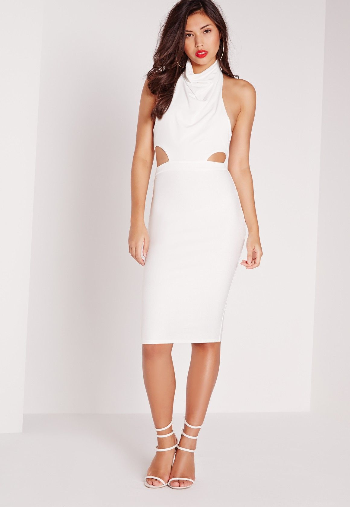 57c99a25df55 Missguided - Cowl Neck Cut Out Midi Dress White | prom dress in 2019 ...