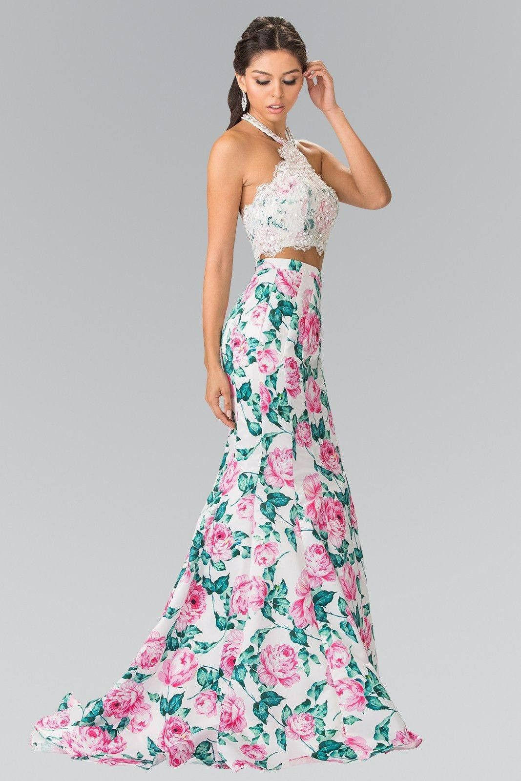 Cheap 2 piece floral Mermaid prom dress   GL2259 4abbd9d6e