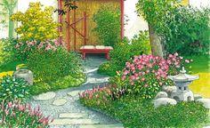 Gestaltungsideen Garten Idyll Auf Kleinstem Raum Garten Anlegen Garten Schattengarten