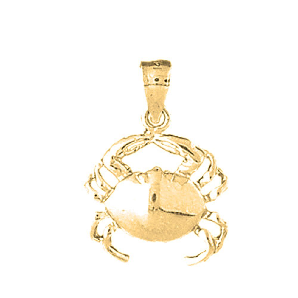 Yellow goldplated silver mm crab pendant necklace day