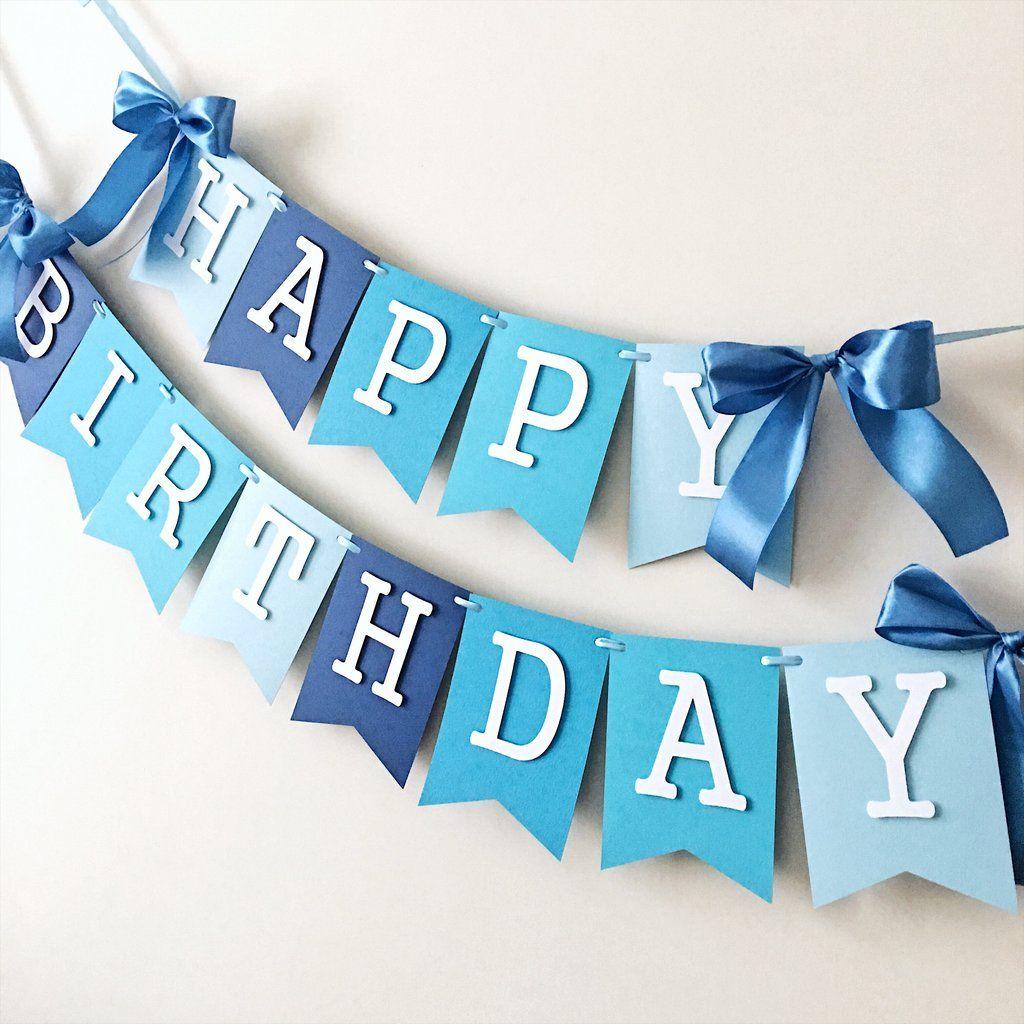 Ombre Blue Boy Happy 1st Birthday Banner Happy Birthday Banner Diy Diy Birthday Decorations First Birthday Decorations