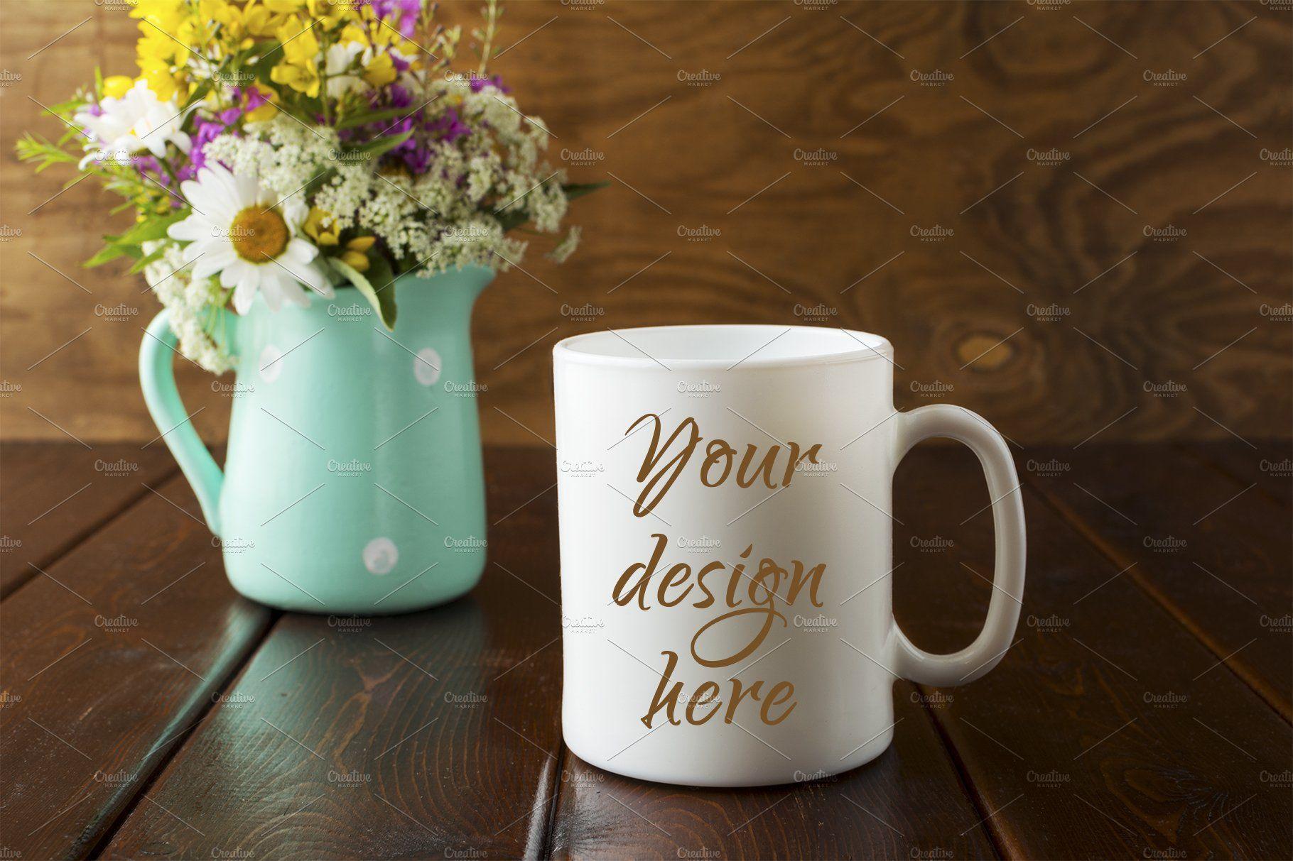 White coffee mug rustic mockup with White coffee mugs