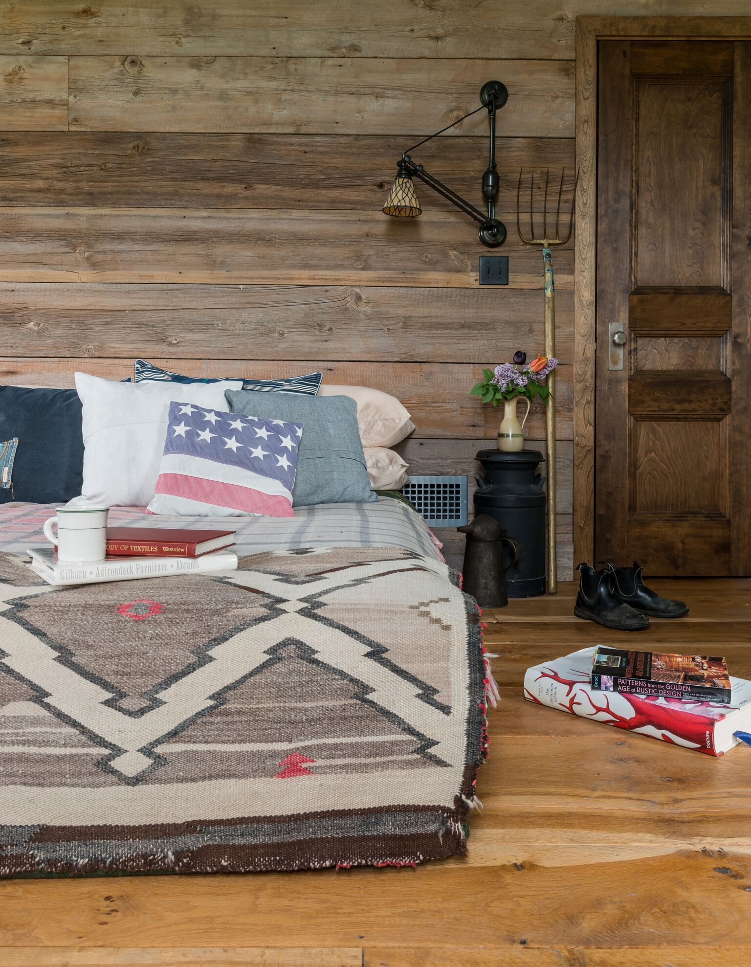 Reclaimed Barnwood Interior Brings Warmth And Texture To This Western Bedroom Lighting Designed For Aesthetics Function