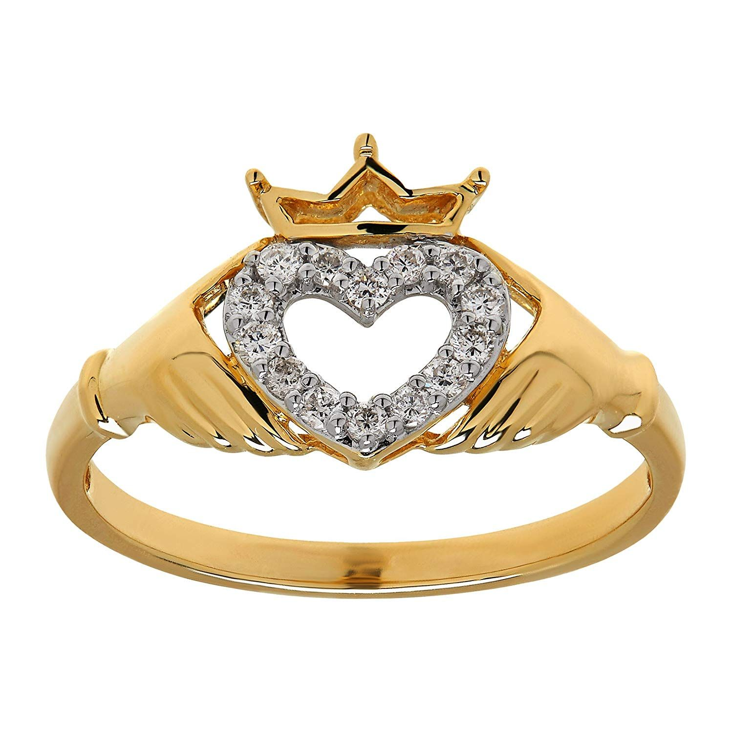 1/8 ct Diamond Claddagh Heart Ring in 14K Gold >>> You can