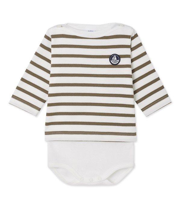 Body marinière bébé manches longues Petit Bateau blanc 3c0d7dfca70